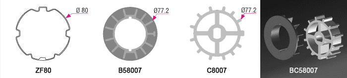 Bague + Couronne BC58007 pour tube ZF Ø80mm - (+ 7,00 €)