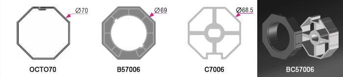 Bague + Couronne BC57006 pour tube OCTO70 Ø70mm - (+ 5,50 €)