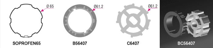 Bague + Couronne BC56407 pour tube SOPROF Ø65mm - (+ 6,00 €)