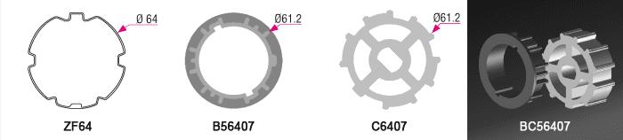 Bague + Couronne BC56407 pour tube ZF Ø64mm - (+ 6,00 €)
