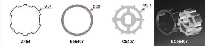 Bague + Couronne BC55407 pour tube ZF Ø54mm - (+ 4,50 €)