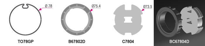 Bague + Couronne B67802D + C7804BRIx2 pour tube TO78GP Ø78mm - (+ 49,50 €)