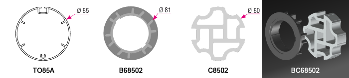Bague + Couronne BC68502 pour tube TO85A Ø85mm - (+ 12,00 €)