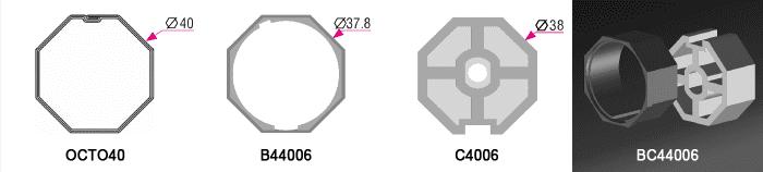 Bague + Couronne BC44006W pour tube OCTO40 Ø40mm - (+ 5,00 €)